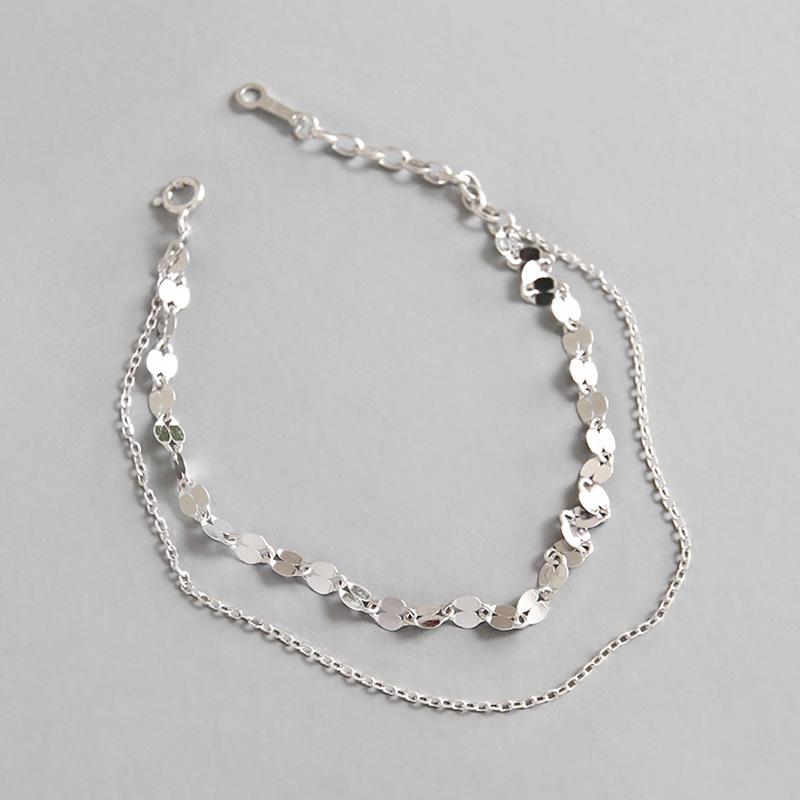 Real 925 Sterling Silver Bracelets for Women 2019 Fashion Tile Chain Double Layer Bracelet 925 Silver Jewelry pulseras mujer in Chain Link Bracelets from Jewelry Accessories