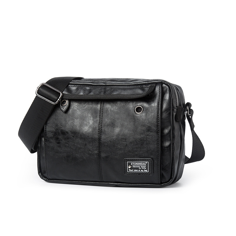 The New Mens Shoulder Bag Leisure Crossbody Bag The Korean Version Pu Waterproof Large Capacity Postage Bag Retro Handbag