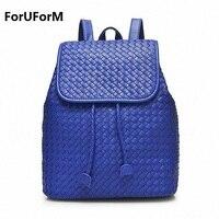 Women Genuine Leather Backpack Weave School Bags For Girls Fashion Korean Backpacks Student Bookbag Mochilas Femininas