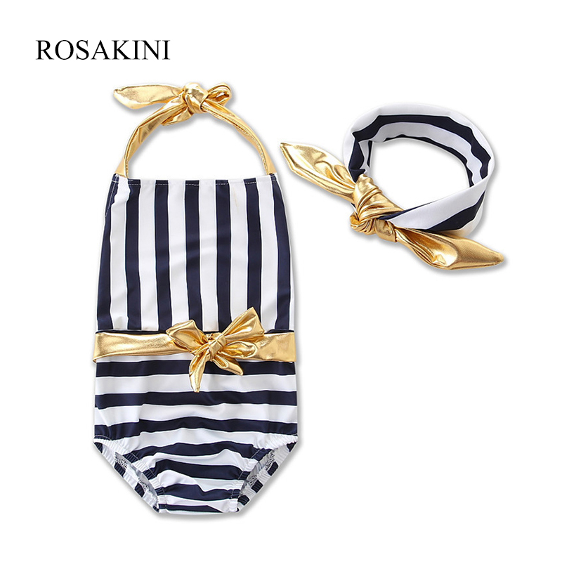 ROSAKINI 2017 summer Strip Girls Kid Bikinis Set Swimsuit one-pieces Quality Sweet Kids gril Biquini Infantil Swimwear Beachwear