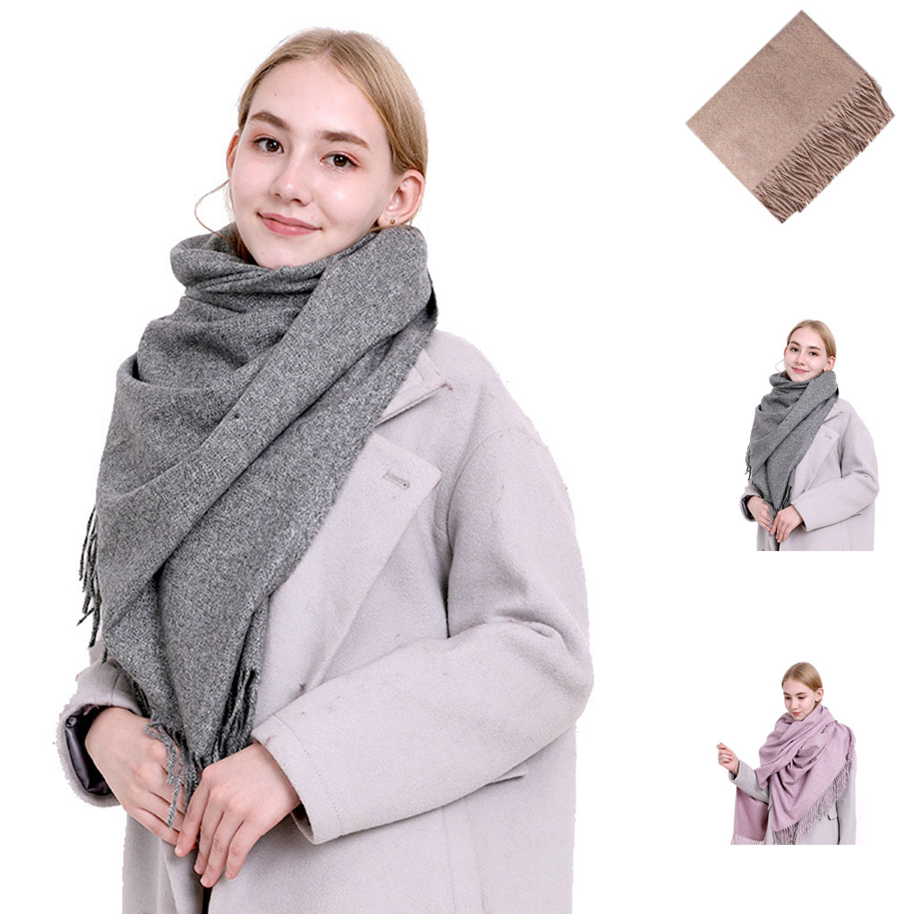 Women Classic Solid Color   Scarf     Wrap   Warm Pashmina Long Polyester Winter Shawl Plain Tassels Cape