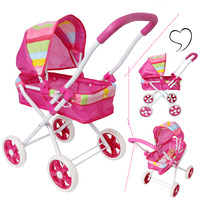 Baby Dolls Accessories Doll Stroller Foldable Stroller Pram Pushchair Safe Dolls Carriages Pretended Play Furniture Toy for Kids