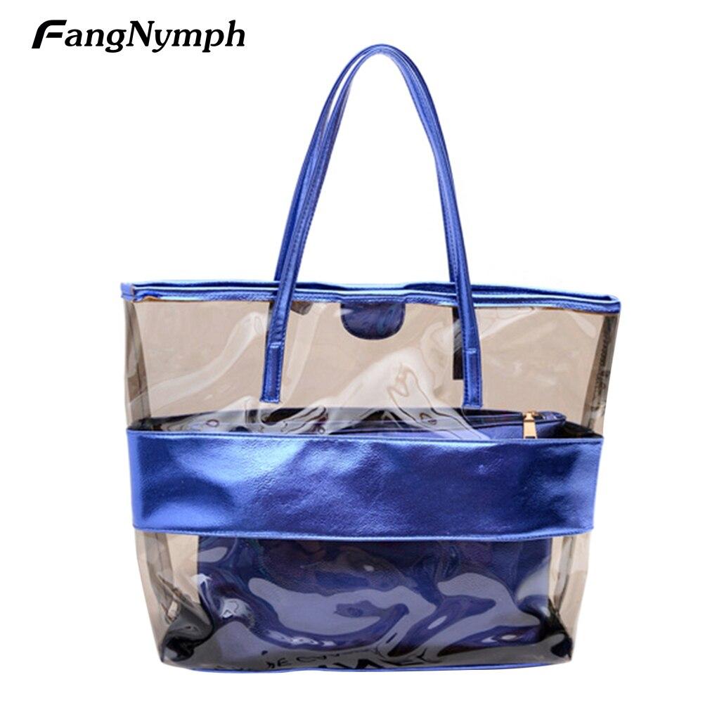 цена на Travel to leisurely Summer Women's PVC Transparent Candy Color Beach Bags Single Shoulder Bag Handbags