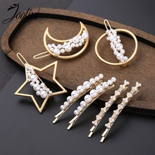 JOOLIM Jewelry Wholesale/Trendy Simulated Pearl Moon Star Hair Pin Wedding Hairjewelry