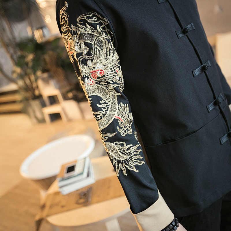 メンズ伝統的な唐スーツ刺繍スリーブカンフー太極拳服春秋薄型ジャケット男性プラスサイズ M-5XL CN-001