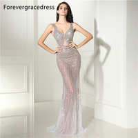 Forevergracedress Sexy Illusion Backless Prom Dress V Neck Beaded Crystals Long Formal Party Gown Plus Size