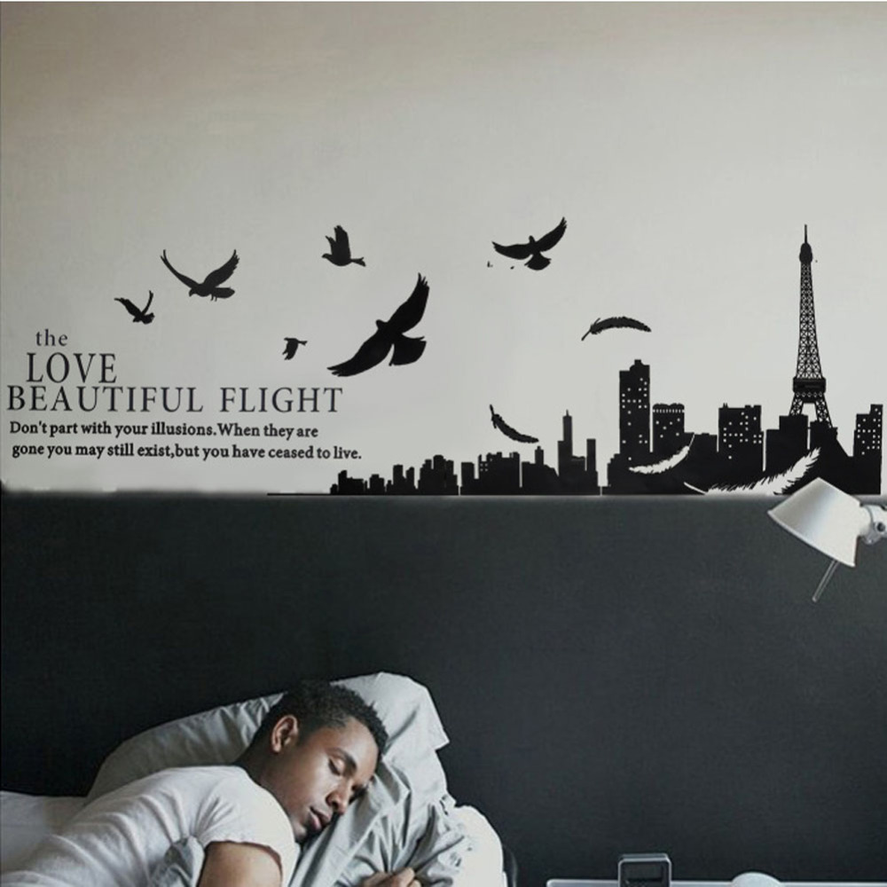 paris eiffel tower design living room bedroom decor pvc removable wall stickers wall sticker from reliable stickers international suppliers on hxc1 - Eiffel Tower Decor For Bedroom