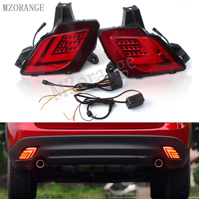 MZORANGE LED DRL Rear rear bumper light For Mazda CX-5 CX5 CX 5 2013 2016 brake lamp driving light running lamp car-styling rear bumper light fog lamp for mazda cx 5 left and right top quality