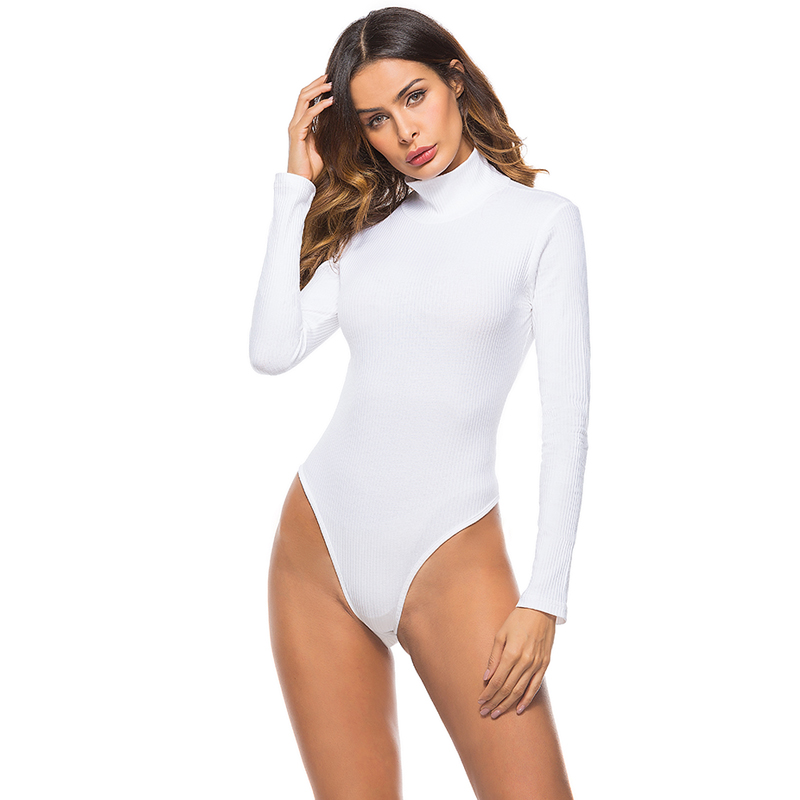 EIFER Cotton Long Sleeve High Neck Skinny Bodysuit 2018 Summer Autumn Winter Women Black White Solid Sexy Body Suit