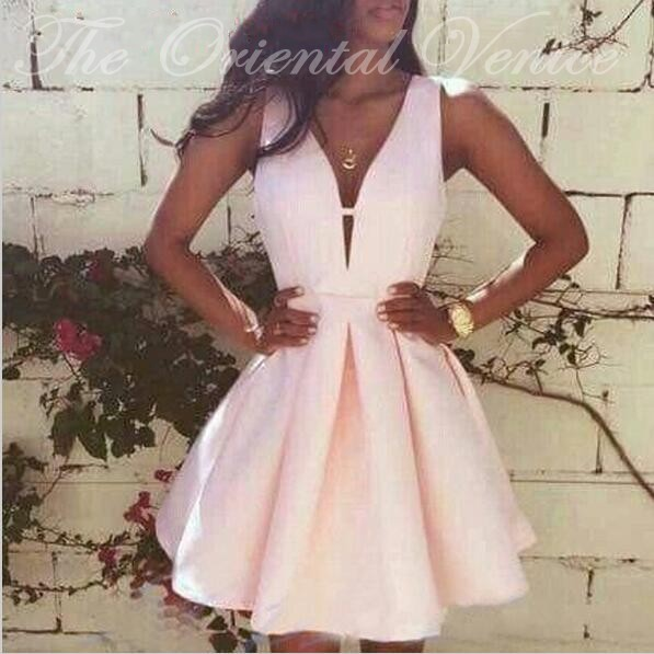 9136c2accd0 Sexy V Neck Short Pink Homecoming Dress Modest Graduation Dresses Mini  Cocktail Dress Party Evening Gowns Vestidos de 15 cortos-in Homecoming  Dresses from ...