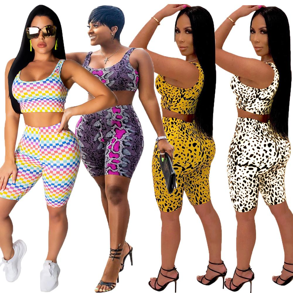 Top-Shorts Outfits Jumpsuit-Sets Shinny-Tube Two-Piece-Set Bodycon Leopard-Printed Casual