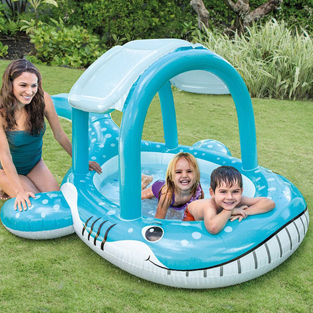 Kids Inflatable Pool With Baby Awning Pool Basin Whale Baby Pool Kids Water Games Pool C93