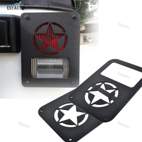 Tail Light covers Rear Taillights Trim Guard Black Lamp Protector Star/Pawprint/USA flag Style for Jeep Wrangler JK(2 pcs)