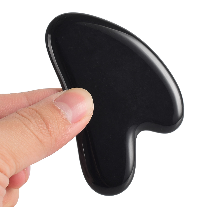 Facial Jade Gua Sha Board Black Obsidian Massage Tools Point Foot Back Acupress Face Lift Spa Massager Beauty Skin Health Care