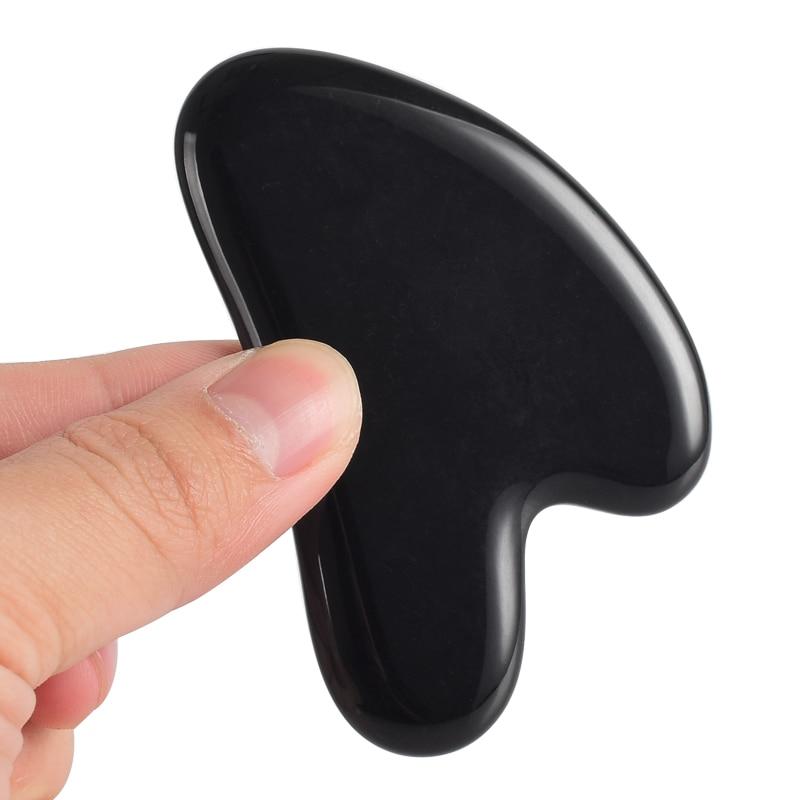 Facial Jade Gua Sha Board Black Obsidian Massage Tools Point Foot Back Acupress Face Lift Spa Massager Beauty Skin Health Care