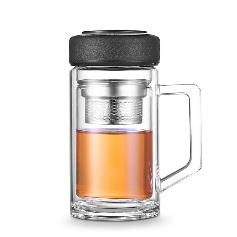 350 ml Doppia Parete di Vetro Tazza di Tè Resistente Al Calore Tazza di Vetro Borosilicato Cinese Tè Infusore Tazze con Filtro Impugnatura