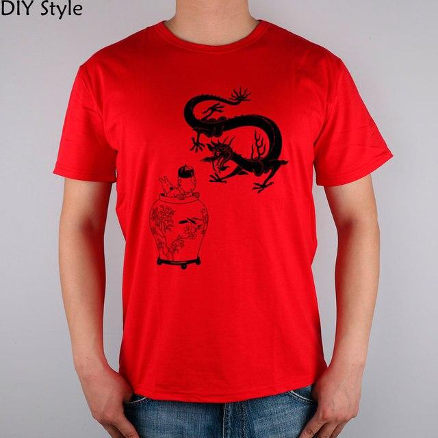 PD TINTIN  short sleeve T-shirt Top Lycra Cotton Men T shirt New DIY Style