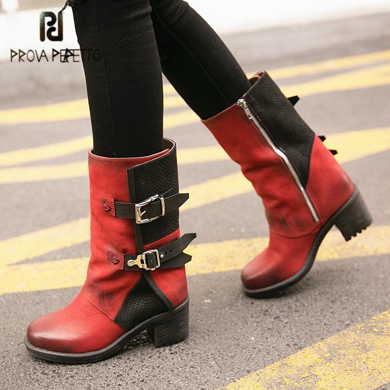 купить Prova Perfetto Red Women Genuine Leather High Boots Belt Buckle Martin Boots Female Platform Rubber Shoes Woman Botas Mujer по цене 8970.23 рублей