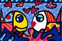 Custom Canvas Romero Britto Painting Sticker RB Fish DEEP LOVE Posters Kids Wallpapers Romero Britto Art