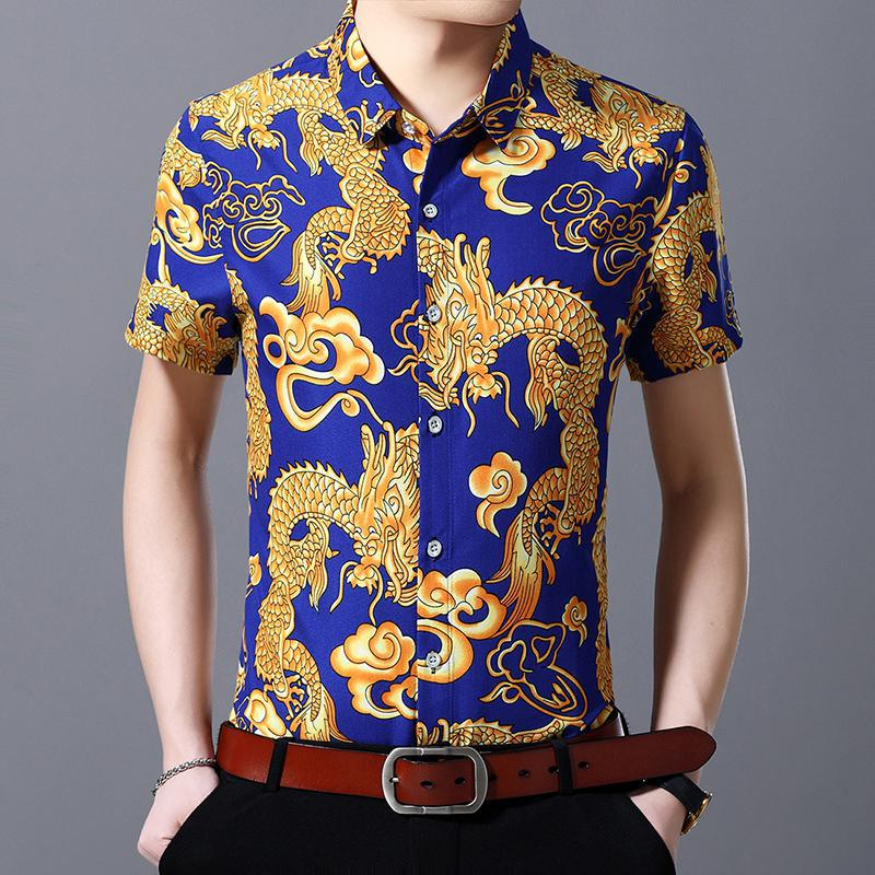 Independent Chinese Dragon Printed Short Sleeve Shirt Men Fashions Summer Shirts Plus Size 7xl 6xl 5xl Streetwear Men Office Shirt Xxxxxxxl Structural Disabilities Casual Shirts