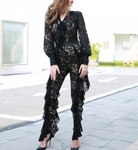 Deep V long sleeved ruffled lace Jumpsuit ST01