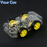 1 pc Motor Smart Robot Car Chassis Electronic Manufacture DIY Kit Speed Encoder Battery Box 4WD 4 Wheel Drive Car For Arduino
