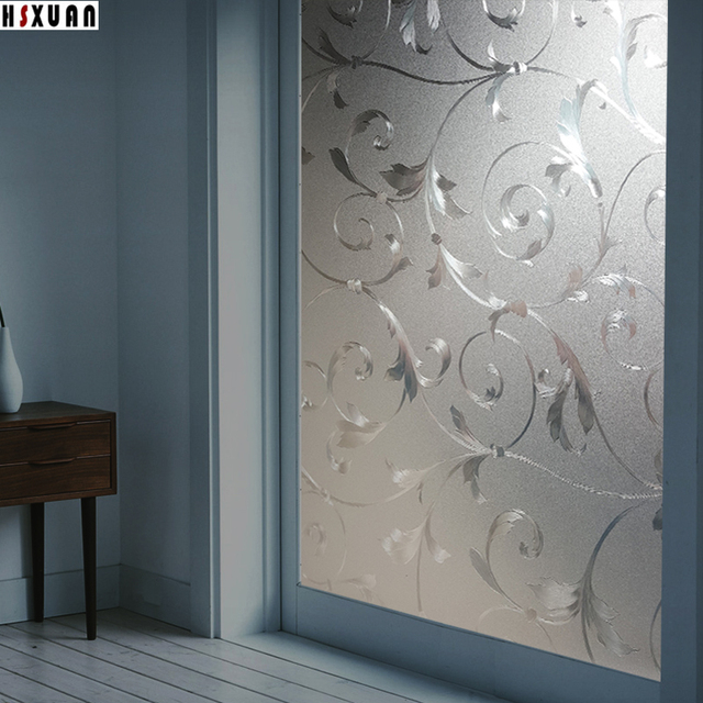 Decorative Window Privacy FilmsPVC Frosted Opaque 3D Iron Flowers Home Decor Glass Stickers