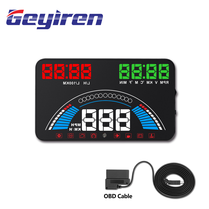 GEYIREN S7 HUD Head Up Display Temperatura OBD2 + GPS Temperatura Gps Hud Speedometer For Car Bike Motorcycle Auto Accessories
