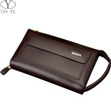 YINTE Men's Clutch Wallets Luxury Male Leather Purse Men's Passport Long Wallet Handy Bags Large Space Wallet Portfolio T8187-3