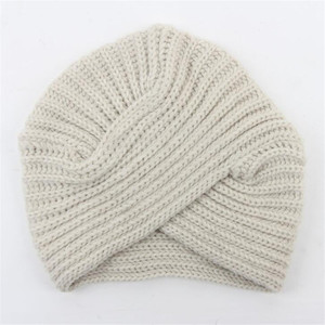Image 3 - Women Bohemian Style Warm Winter Autumn knitted Cap Fashion Boho Soft Hair Accessories Turban Solid Color Muslim hat Whole Sale
