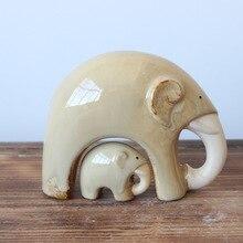 2 قطعة الفيل ديكور المنزل الحرف جديد فرن السيراميك الأم والطفل اليفون التماثيل الحرفية الفيل ديكور المنزل