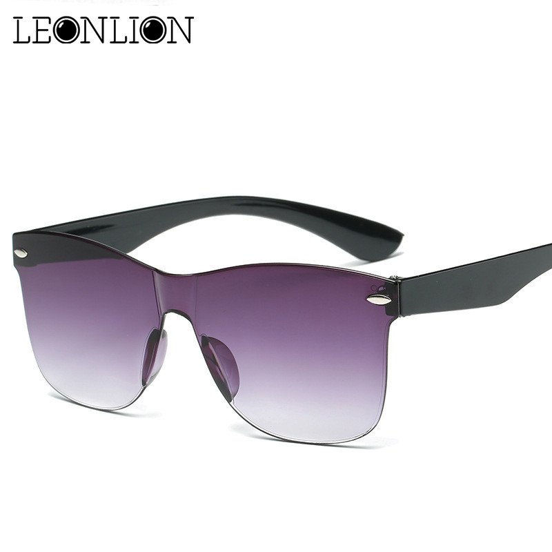 LeonLion 2019 Transparent Sunglasses Women Colorful Retro Fashion Rimless Sun Glasses Women's Vintage Luxury Brand Eyewear