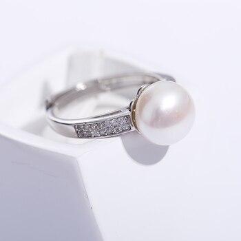 fd1ef0215ced 2019 venta 925 anillo de plata de ley diseño de marca joyería genuina perla  9-10mm anillo de perlas de agua dulce