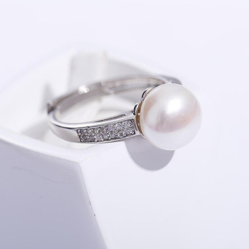 2019 vente 925 bague en argent Sterling marque Design véritable bijoux perle 9-10mm anneau de perles d'eau douce