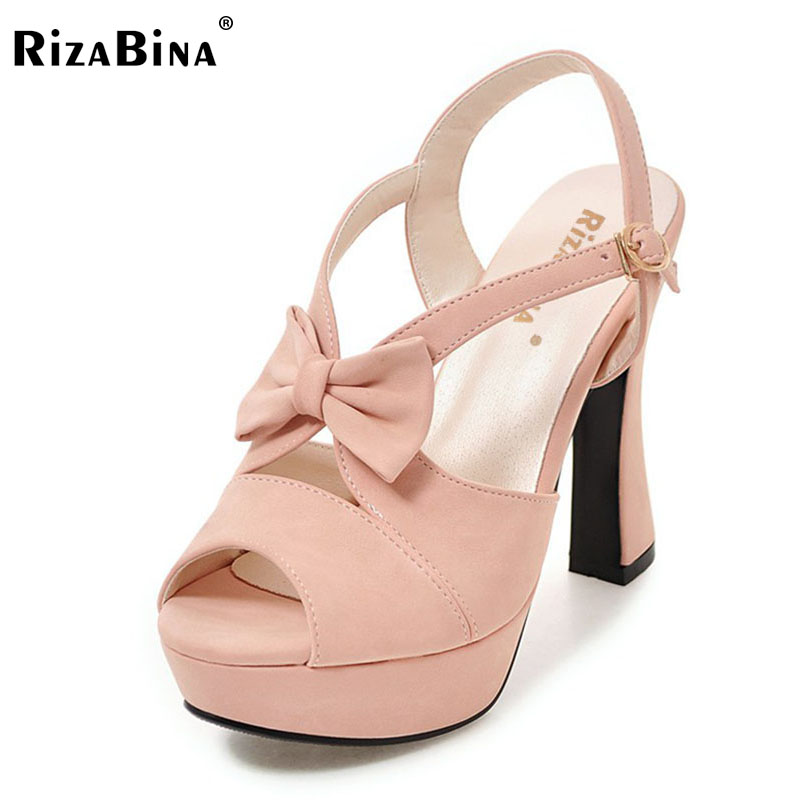 RizaBina Size 31-43 Open Toe High Heels Women Shoes Buckle Strap Summer Sandals Sweet Bow Party Wedding Lady Office Sandalias meotina shoes women sandals summer sexy stiletto high heel sandals open toe ankle strap party pumps lady shoes purple size 34 43