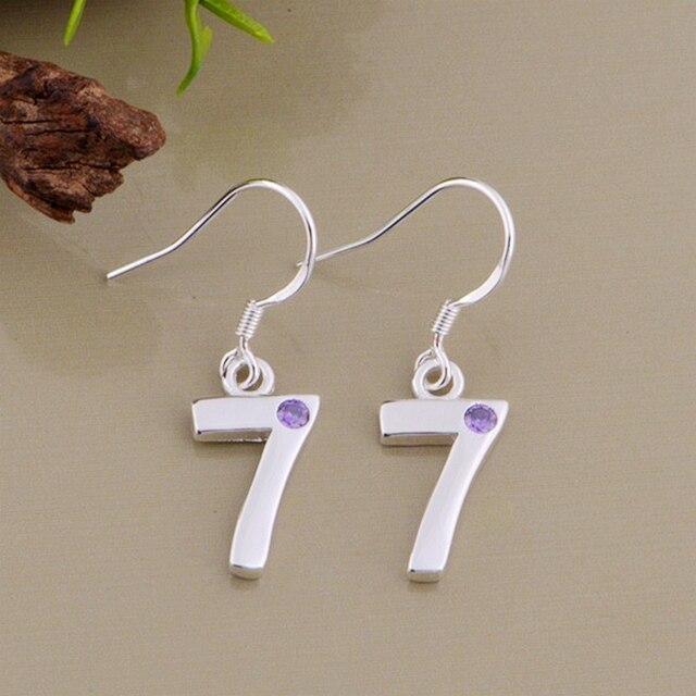 Purple Zircon Number 7 Silver Plated Earrings For Women Fashion Jewelry Earring Padqnxcs Dssajpss