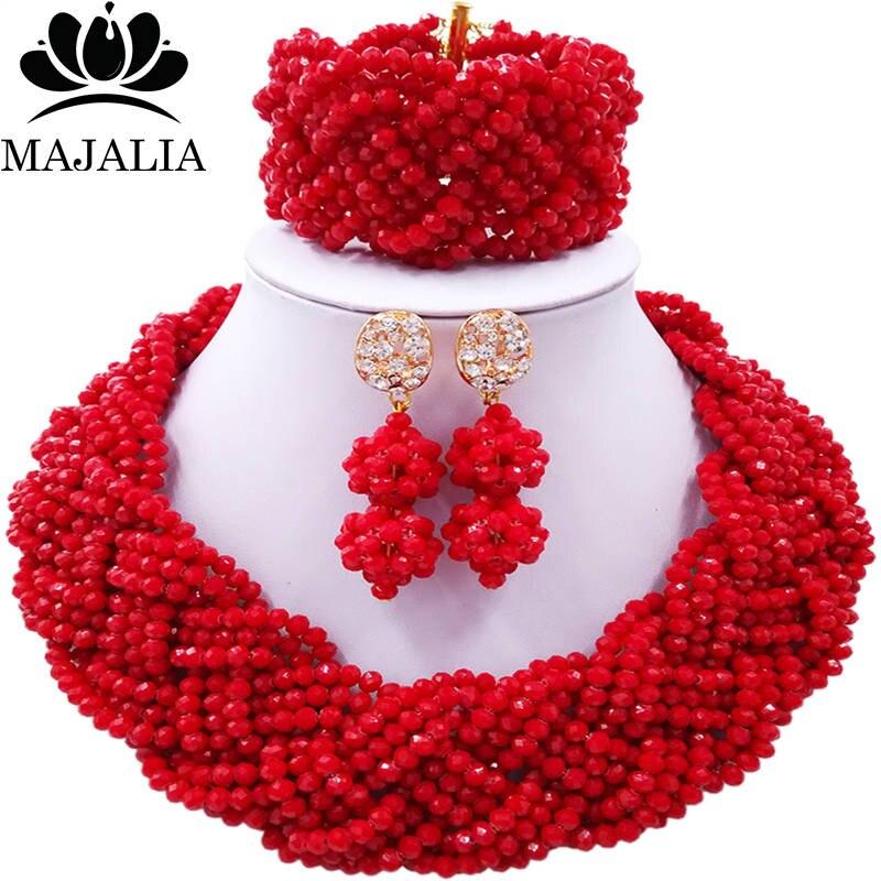 Majalia African Fashion Women Jewelry Set Red Nigerian Wedding Jewelry Beaded Sets 12CB001 majalia african fashion women jewelry set royal blue nigerian wedding jewelry beaded sets 12cb006