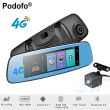 Podofo 4G Touch Dash Cam Dual Lens Car DVR 7.84″ ADAS Camera Mirror + GPS Navigation Bluetooth Android 5.1 Wifi  1080P Registrar