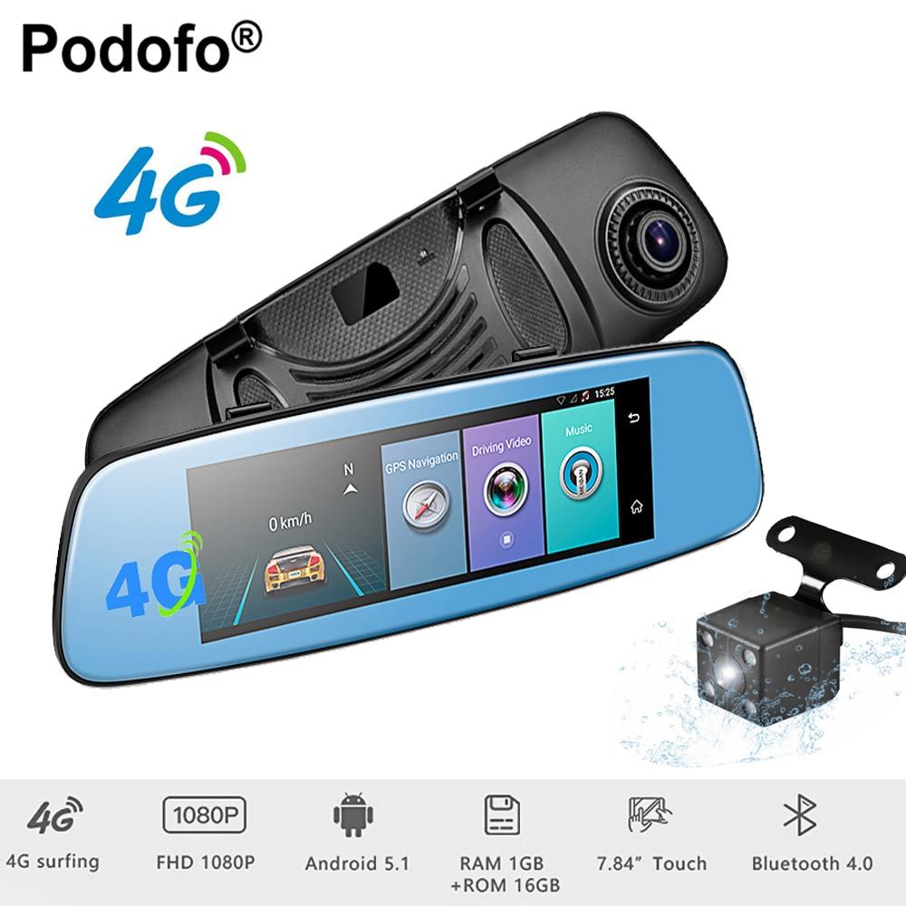 Podofo 4G Wifi Car DVR 7.84 Touch Monitor Android 5.1 Bluetooth Dash Cam ADAS Rear View Camera GPS Navigation 1080P Registrar
