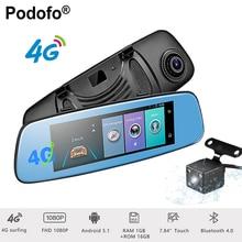 Podofo 4G Wifi Car DVR 7.84″ Touch Monitor Android 5.1 Bluetooth Dash Cam ADAS Rear View Camera GPS Navigation 1080P Registrar