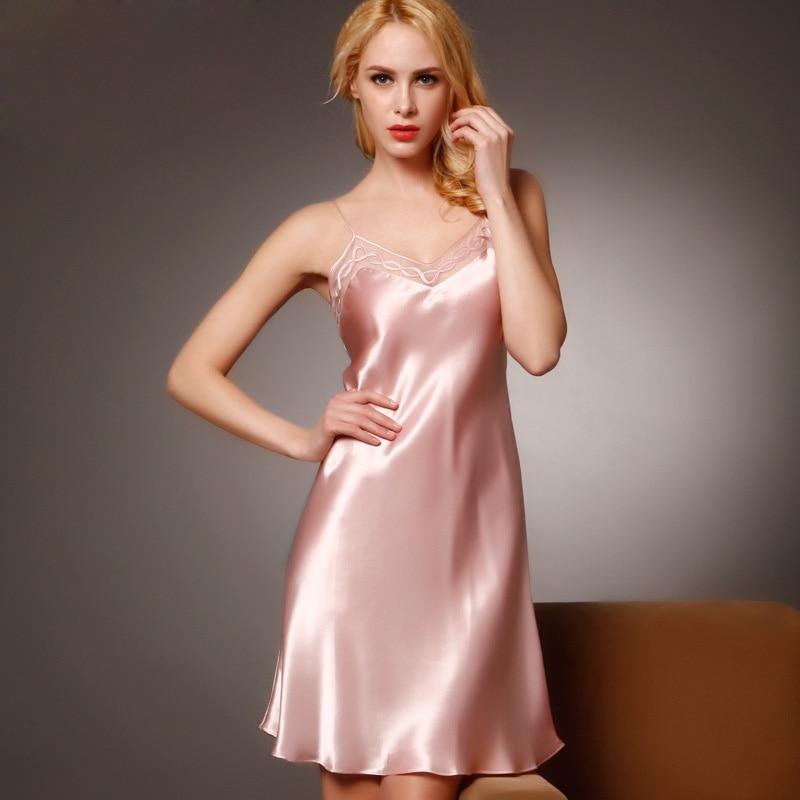 100 Silk Nightgowns Women Sexy Sleepwear Dresses Silk Nightdress Lady Summer Style Dress Pink Loungewear Clothes