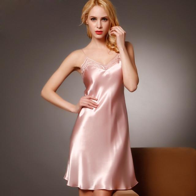 100% Silk Nightgowns Women Sexy Sleepwear Dresses Silk Nightdress Lady Summer Style Dress Pink Loungewear Clothes