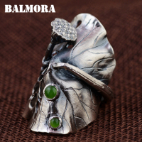 BALMORA 100% Real 990 Pure Silver Lotus Bud Exaggerated Open Rings for Women Lover Vintage Fashion Jewelry Gift Bijoux SY21969