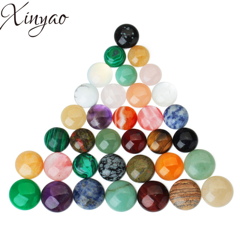 XINYAO 10pcs/lot Glass Round Crystal Natural Stone Cabochon Fit Base Earring Setting for Jewelry Flatback 10/12/14/20/25mm F7352 mibrow 10pcs lot stainless steel 8 10 12 14 16 18 20mm blank french lever earring tray cabochon setting cameo base jewelry