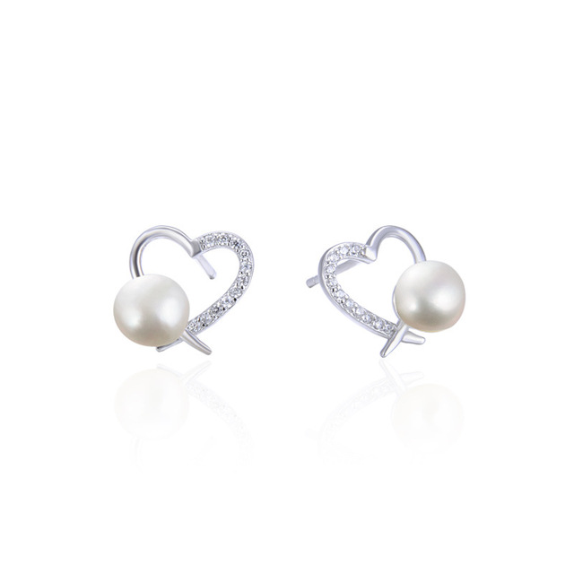 YJAR001824 New Fashion Zircon with Fresh Water Pearl Earrings Temperament Retro Jewelry S925 Sterling Silver Studs