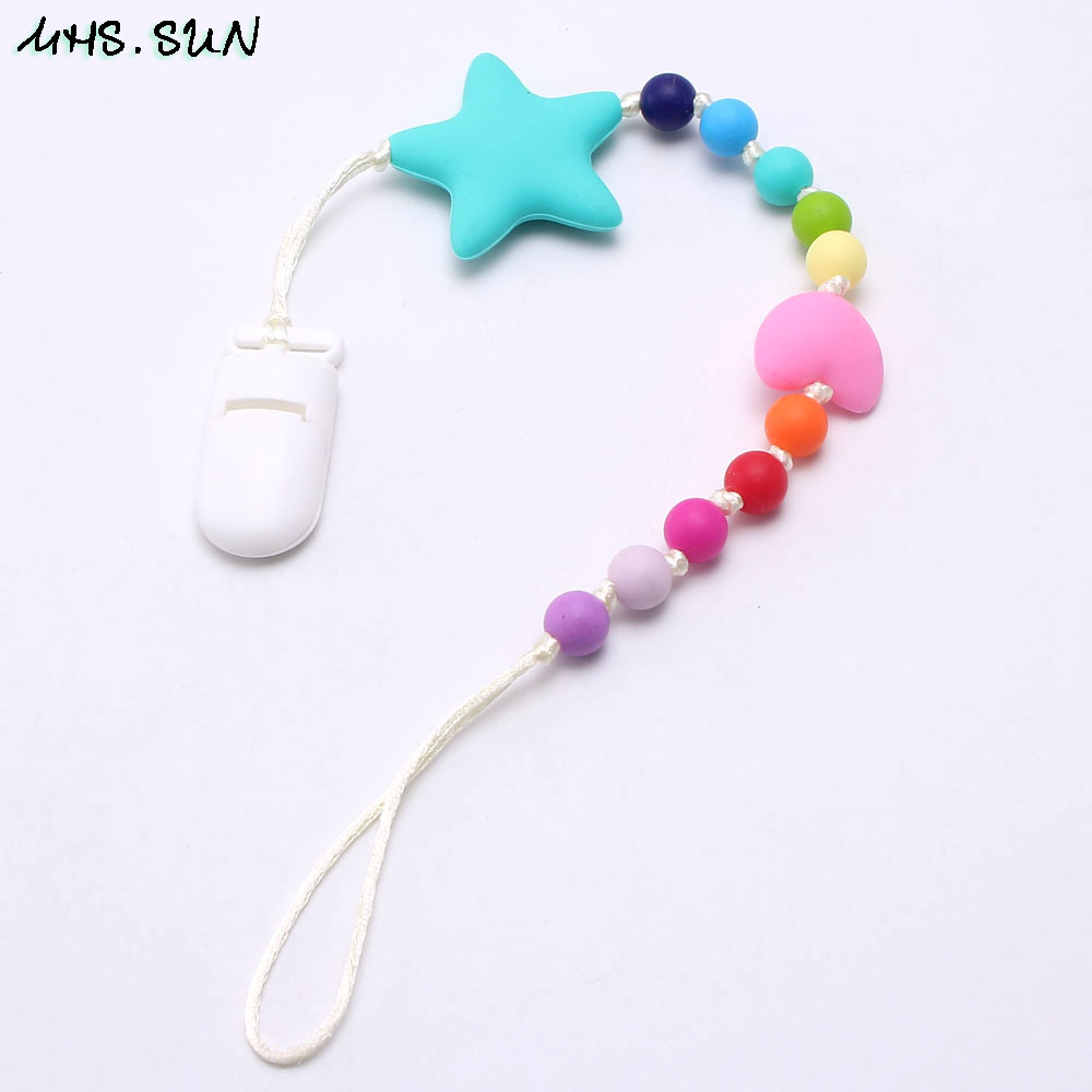 DIY Baby Pacifier Chain Clip Silicone Bead Soother Teether Nipple Holder Strip