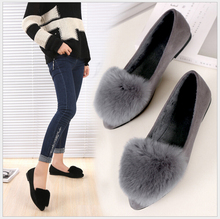 Fashion really Rabbit hair keep warm shoes pointed toe women flats woman flat shoes ballet flats for ladies