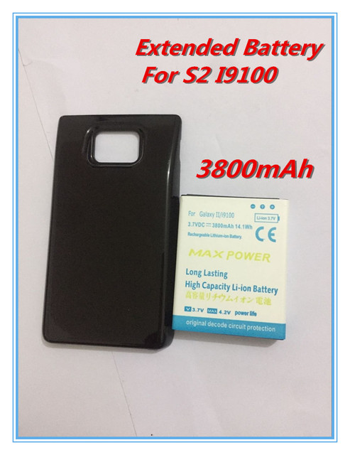 3800mAh For Samsung Galaxy S2 SII GT-I9100 I9100 Extended Battery Bateria+Back Case Cover Smart Cell Phone Batteries High Power