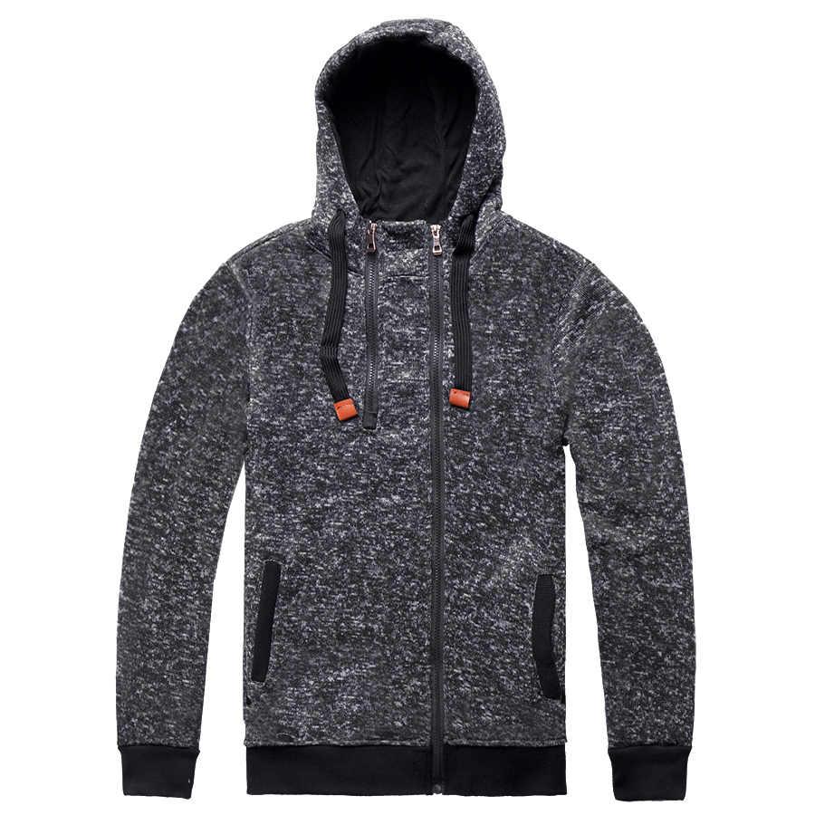 Zymfox Hoodies Men Double Zipper Coat Jogging Sport Design Hoodie Hiking Sweatshirts Male Solid Running Hooded Jacket Gym Coat