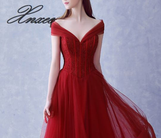 2019 new long dress slim red one shoulder banquet dress